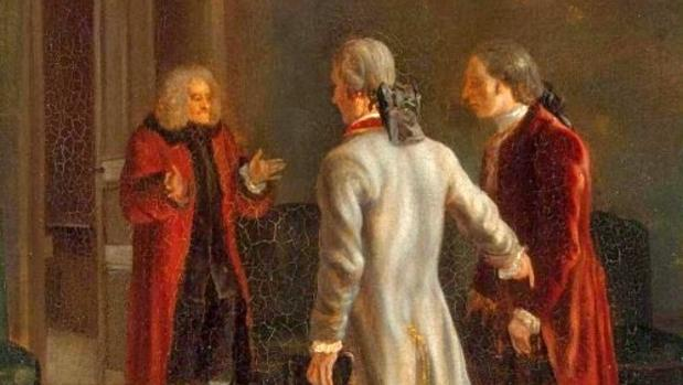 Voltaire dando la bienvenida a invitados en Suiza, pintado por Jean Huber