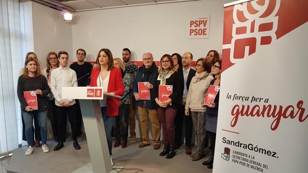 Sandra Gómez, durante el acto de este sábado en la sede del PSPV