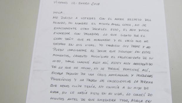 Carta del autor del crimen de Medina