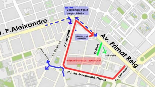 Plànol amb els talls de trànsit per la celebració de Sant Antoni