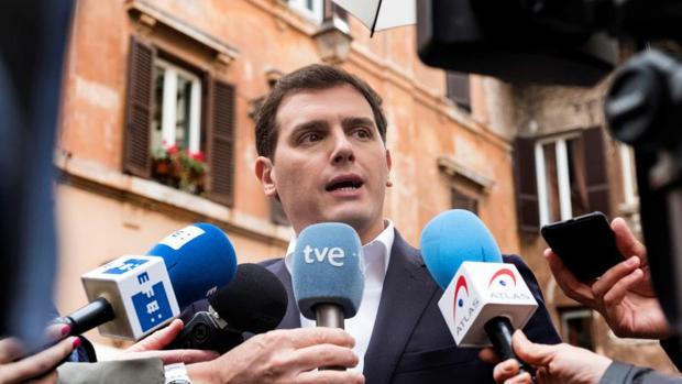 El presidente de Ciudadanos, Albert Rivera, este martes en Roma