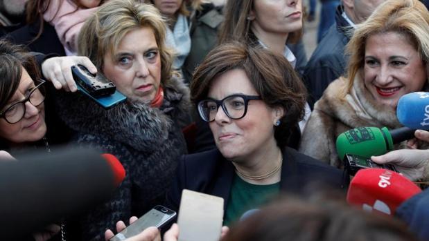 La vicepresidenta del Gobierno, Soraya Sáenz de Santamaría, este martes en Soria