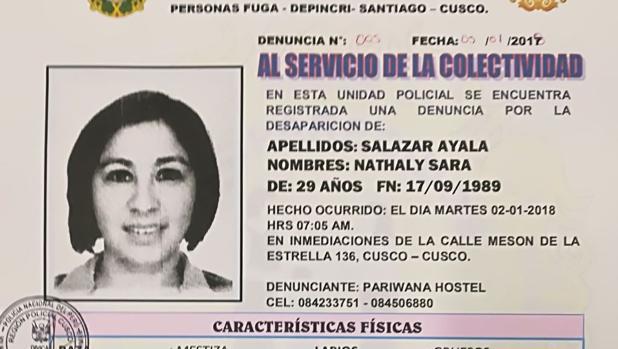 Imagen de la ficha de la desaparición de Nathaly Salazar