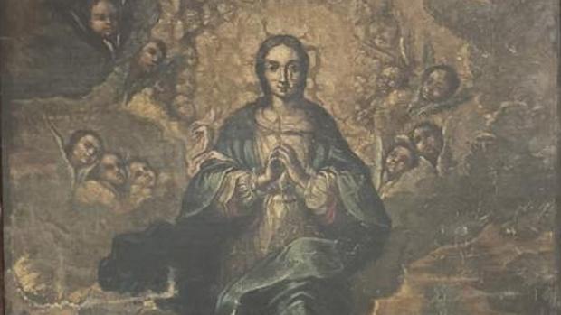 Detalle de la Inmaculada, el cuadro que todavía no ha sido devuelto al monasterio de Sijena