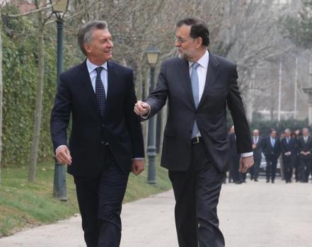 Rajoy y Macri en febrero del pasado año en el Palacio de La Moncloa