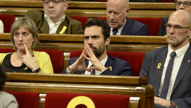 Torrent, esta mañana en el Parlamento catalán poco antes de ser escogido presidente