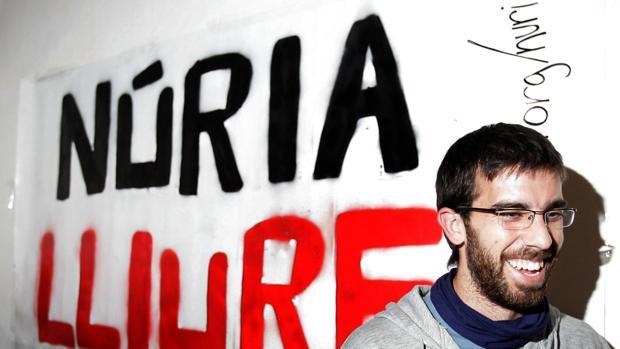 Oleguer, en 2007, en un acto de solidaridad con una detenida vinculada a grupos anarquistas