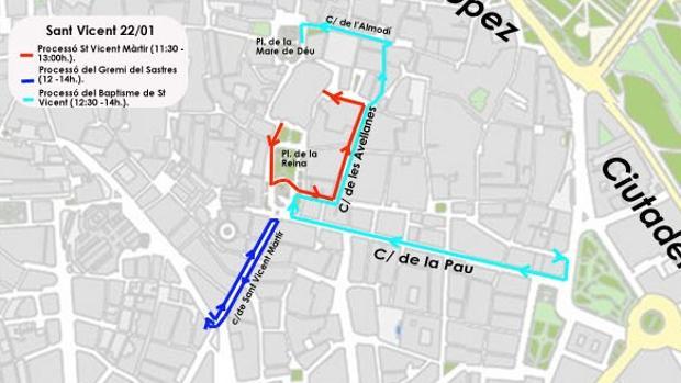 Plànol dels talls de trànsit per la festivitat de Sant Vicent Màrtir a València