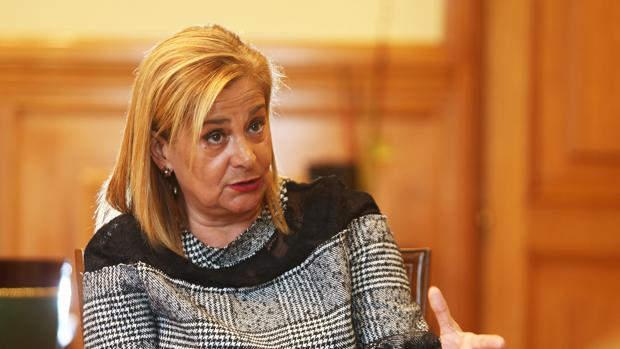 La presidenta de la Diputación de Pontevedra, Carmela Silva, durante su conversación con ABC