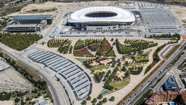 Recreación sobre cómo quedará la cuña verde que rodeará el estadio del Atlético de Madrid