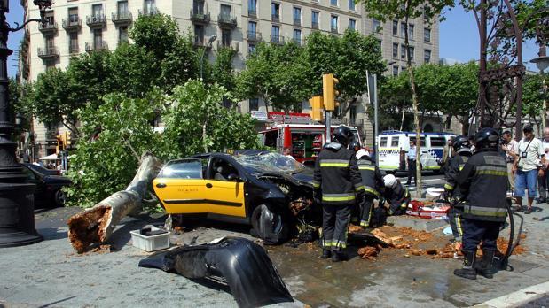 Un accidente en el Paseo de Gracia de Barcelona
