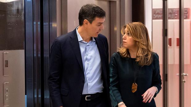 Pedro Sánchez y Susana Díaz, tras la reunión que mantuvieron este martes en Sevilla