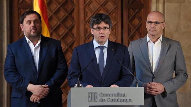 Junqueras, Puigdemont y Romeva, en una imagen de archivo