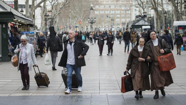 Un aspecto de las Ramblas de Barcelona, esta semana