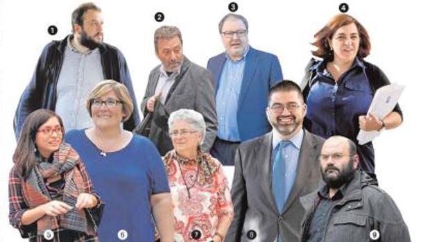Los concejales díscolos: 1. Guillermo Zapata (Madrid 129); 2. Mauricio Valiente (IU); 3. Javier Barbero (Madrid 129); 4. Celia Mayer (Madrid 129); 5. Rommy Arce (Podemos-Anticapitalistas); 6. Yolanda Rodríguez (IU); 7. Montserrat Galcerán (Ganemos); 8. Carlos Sánchez Mato (IU); 9. Pablo Carmona (Podemos-Anticapitalistas)
