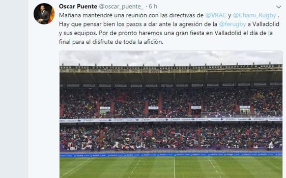 Tuit de Óscar Puente contra la Federación Española de Rugby