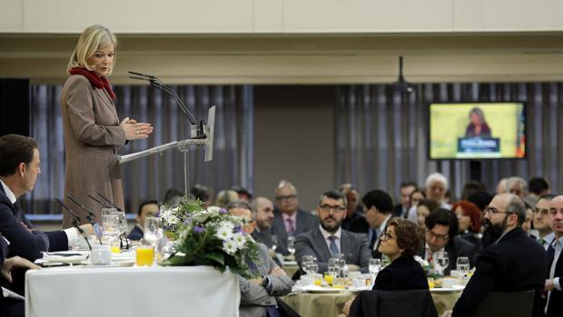 La consellera Gabriela Bavo en el desayuno de Nueva Economía Forum, este martes en Valencia