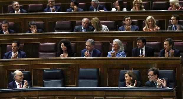 Bancada del Gobierno y los diputados del PP en el Congreso