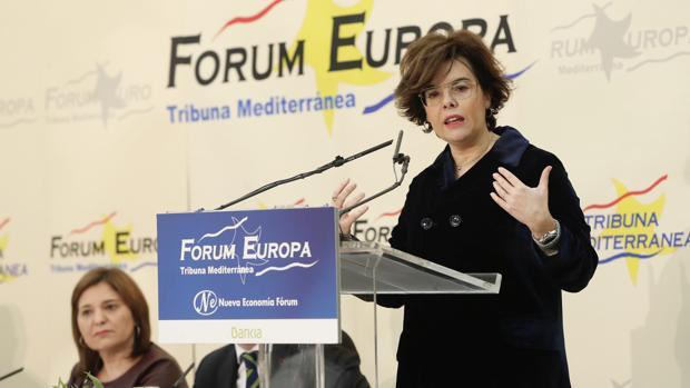 Soraya Sáenz de Santamaría, en el Fórum Europa celebrado en Valencia este miércoles
