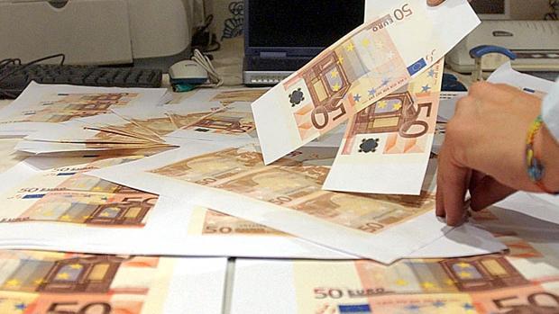 Imagen de archivo de billetes de 50 euros falsificados