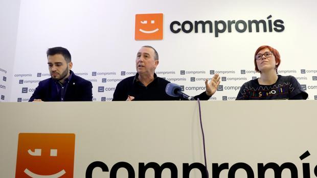 Fran Ferri, Joan Baldoví y Águeda Micó en la rueda de prensa ofrecida este jueves