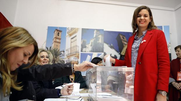 Sandra Gómez vota este domingo en las primarias del PSPV