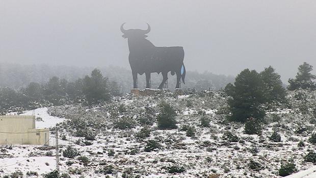Imagen de la nevada de este lunes en Villagordo del Cabriel