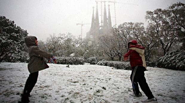Postal de la nevada en Barcelona en el año 2010