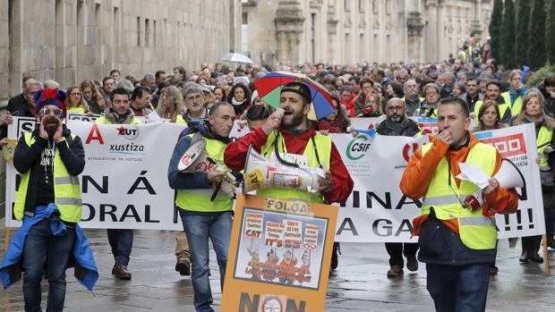 Protesta de los trabajadores de la Justicia, en una imagen de archivo