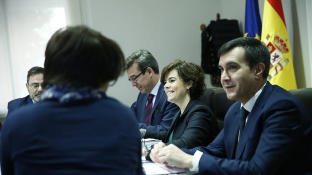 La vicepresidenta del Gobierno, Soraya Sáemz de Santamaría, hoy en La Moncloa