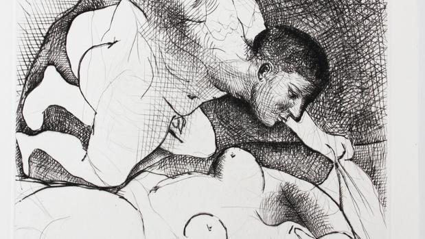 Homme dévoilant une femme, 1931. Pablo Picasso