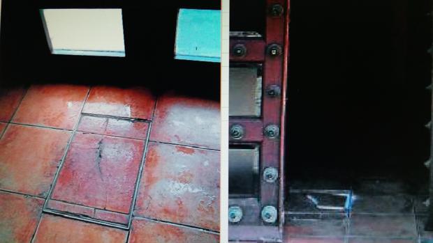 La pieza, ya reparada (a la izquierda). A la derecha, la misma baldosa el pasado sábado