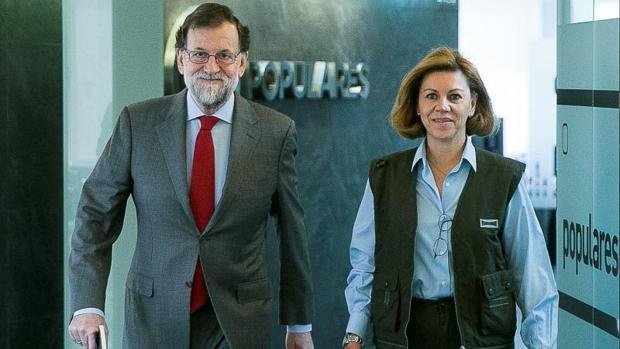 Rajoy y Cospedal, en Génova
