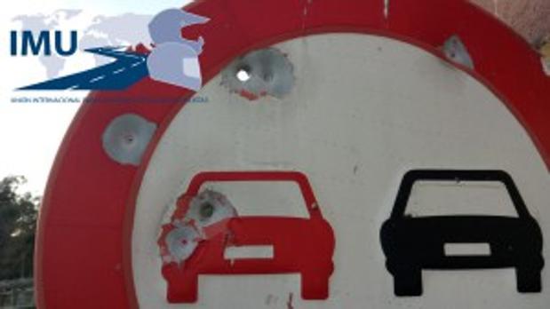 Señal de Tráfico tiroteada en Mondariz