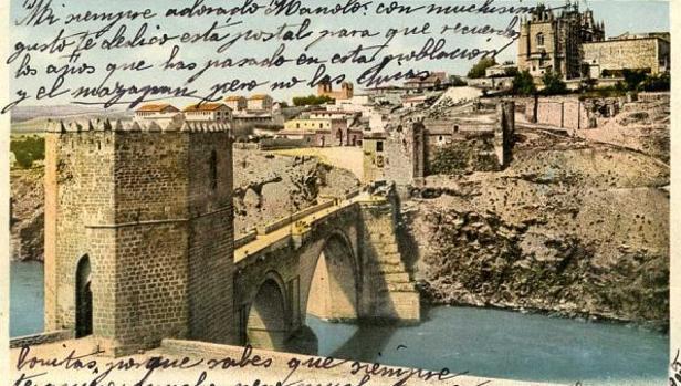 Postal de Toledo con texto manuscrito