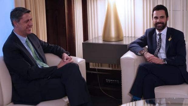 Albiol y Torrent, en el Parlament, el pasado 18 de enero