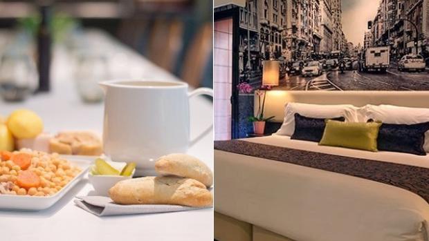 Cocido del restaurante el Gato Canalla y una de las habitaciones del hotel Indigo Gran Vía