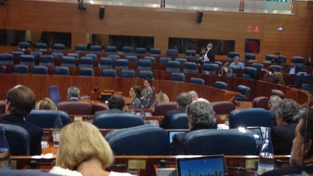 Todos los diputados regionales del PSOE y las diputadas de Podemos, ausentes del pleno de la Asamblea por la huelga feminista