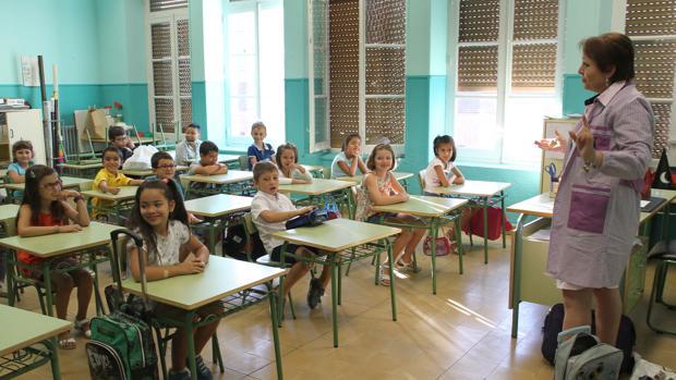 Una clase de un colegio de Palencia