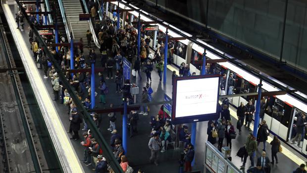 Estación de Metro de Madrid, durante una pasada jornada de huelga