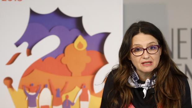 Mónica Oltra, durante la rueda de prensa posterior al pleno del Consell