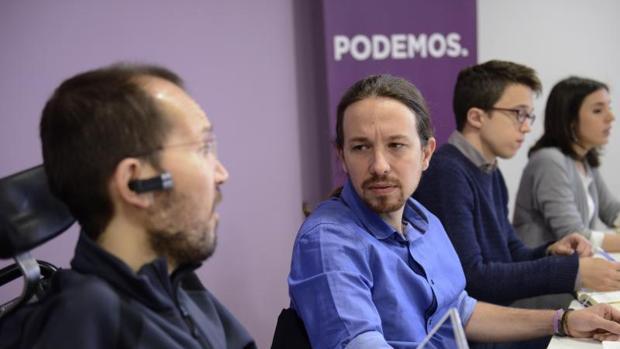 Echenique, Iglesias, Errejón y Montero durante un Consejo Ciudadano Estatal en 2015