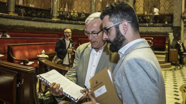 Pere Fuset, junto a Joan Ribó en el Ayuntamiento de Valencia