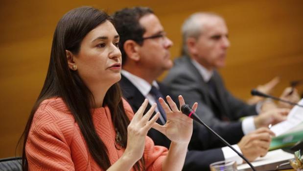 La consellera de Sanidad, Carmen Montón, en las Cortes Valencianas