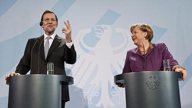 Mariano Rajoy y Angela Merkel, en Berlín