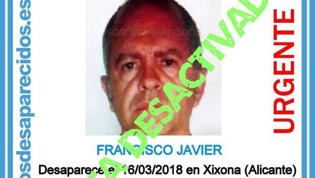 Imagen difundida para encontrar a Francisco Javier en Jijona, Alicante