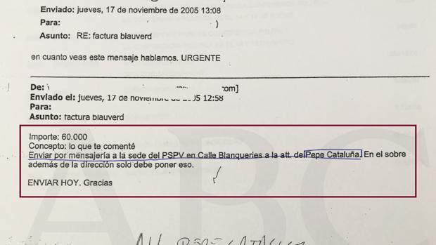 Correo sobre una de las facturas en la que se da la indicación de enviarla a la sede del PSPV