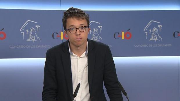 El secretario de Análisis Estratégico de Podemos, Íñigo Errejón, este lunes en el Congreso de los Diputados