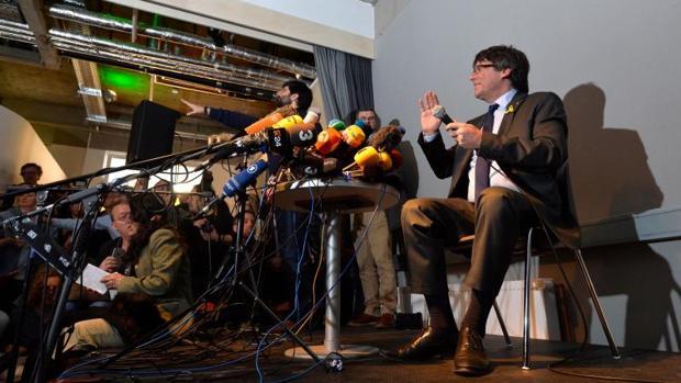 Puigdemont, en la rueda de prensa que dio en Berlín el día 7