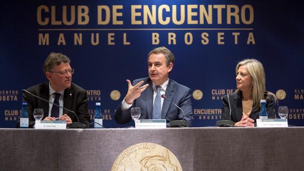 Imagen de Puig y Zapatero tomada este miércoles en Valencia
